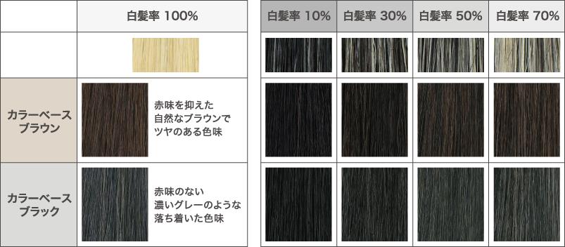 白髪率別の染色イメージ