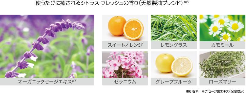 使うたびに癒されるシトラス・フレッシュの香り(天然製油ブレンド)※6